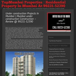 Under Construction Residential Projects In Mumbai