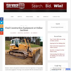 Find Construction Equipment at Online Auctions
