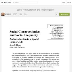 Social constructionism and social inequality