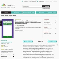 Pre-constructions sociales et constructions scientifiques de la sexualite. les questionnaires des enquetes quantitatives