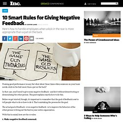 Constructive Criticism: How to Give Negative Feedback
