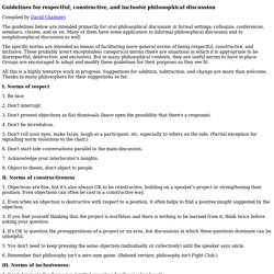 Guidelines for respectful, constructive, and inclusive philosophical discussion