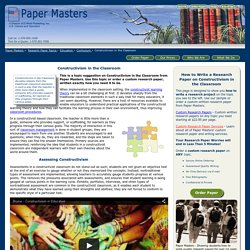 Custom Written Constructivism in the Classroom Research Paper Samples