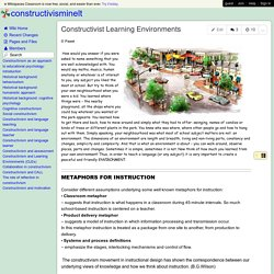 constructivisminelt - Constructivist Learning Environments