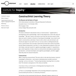 Constructivist Learning Theory