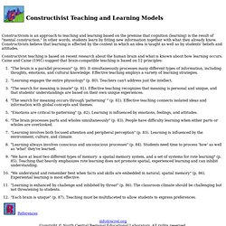 Constructivist Teaching and Learning Models