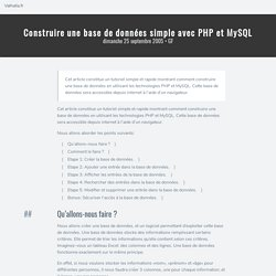 Construire une base de données simple avec PHP et MySQL