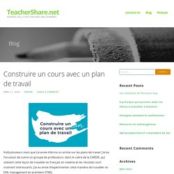 Construire un cours avec un plan de travail – TeacherShare.net
