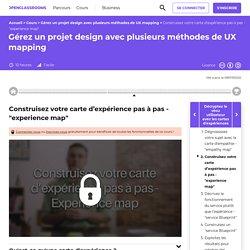 """Construisez votre carte d'expérience pas à pas - """"experience map"""" - Gérez un projet design avec plusieurs méthodes de UX mapping"""