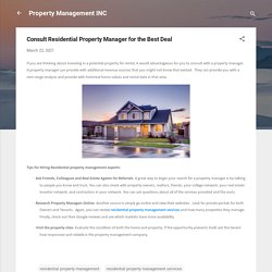 Consult Residential Property Manager for the Best Deal