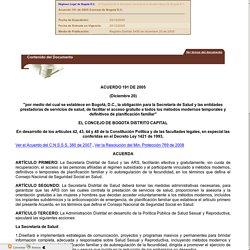 Acuerdo 191 de 2005