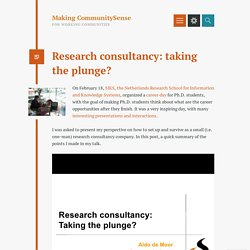 Research consultancy: taking the plunge?