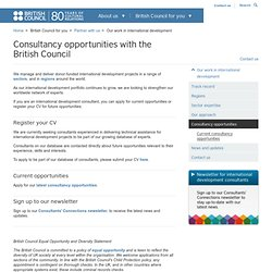 Consultancy opportunities with the British Council