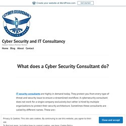 What does a Cyber Security Consultant do? – Cyber Security and IT Consultancy