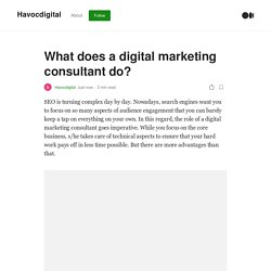 What does a digital marketing consultant do?