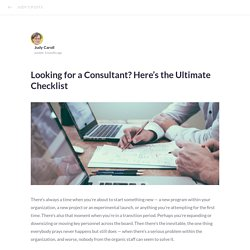 Looking for a Consultant? Here's the Ultimate Checklist
