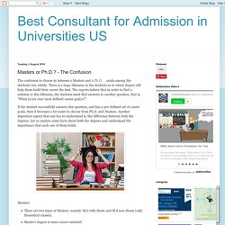 Best Consultant for Admission in Universities US : Masters or Ph.D.? - The Confusion