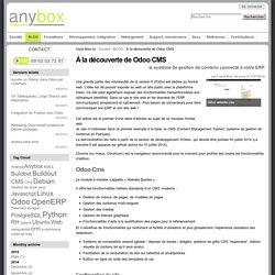 À la découverte de Odoo CMS — Anybox : consultants/développeurs Odoo