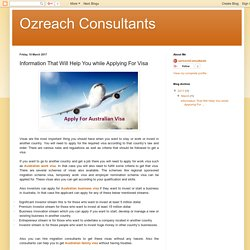 Ozreach Consultants: Information That Will Help You while Applying For Visa