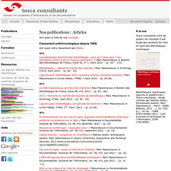 Tosca Consultants - Publications : articles