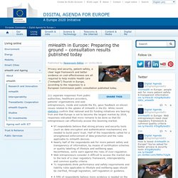 mHealth in Europe: Preparing the ground – consultation results published today