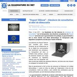 """""""Paquet Télécom"""": Simulacre de consultation et déni de démocratie"""