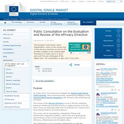 Public Consultation on the Evaluation and Review of the ePrivacy Directive