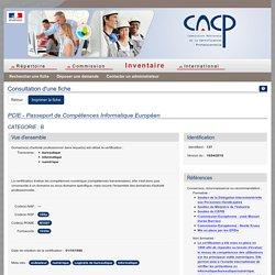 PCIE -Consultation d'une fiche - CNCP (Inventaire)