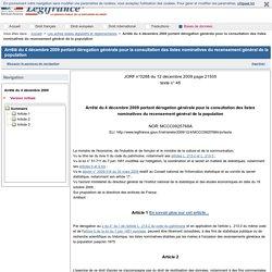 Arrêté du 4 décembre 2009 portant dérogation générale pour la consultation des listes nominatives du recensement général de la population