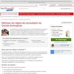 Consultation obligatoire du CE : modalités & procédure