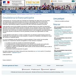Consultation sur la finance participative