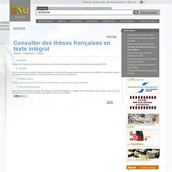 Consulter des thèses françaises en texte intégral