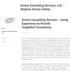 Grover Consulting Services – Using Experience to Provide Insightful Consultancy – Grover Consulting Services, LLC – Stephen Grover Ashley