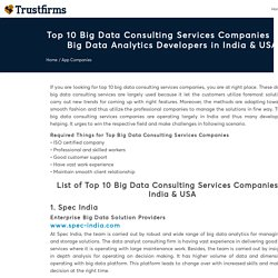 Top 10 Big Data Consulting Services Companies & Developers in India