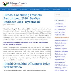 Hitachi Consulting Off Campus Freshers Drive 2020 DevOps Engineer Jobs