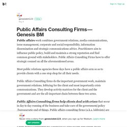 Public Affairs Consulting Firms — Genesis BM – genesisbm123 – Medium