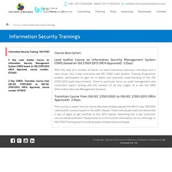 Information Security Trainings - Continuity and Resilience
