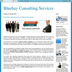 Bluebay Consulting Services: Find Jobs Opportunities in Retail Company