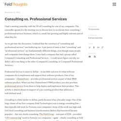 Consulting vs. Professional Services