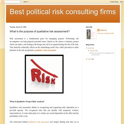 Best political risk consulting firms: What is the purpose of qualitative risk assessment?