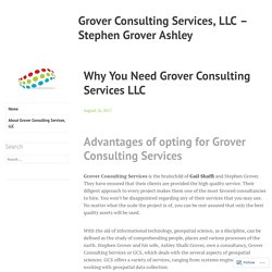 Why You Need Grover Consulting Services LLC