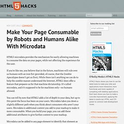 Make Your Page Consumable by Robots and Humans Alike with Microdata - HTML5 Hacks