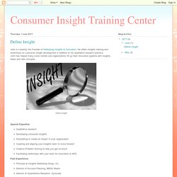 Consumer Insight Training Center: Define Insight