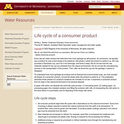 Life cycle of a consumer product : Water Resources