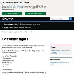 Consumer rights : Directgov - Government, citizens and rights