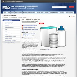 FDA Continues to Study BPA