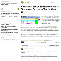 Consumerist Budget Spreadsheet Balances Your Money, Encourages Your Nest Egg