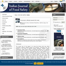 ITALIAN JOURNAL OF FOOD SAFETY - 2014 - Consumers' attitude towards fish meat