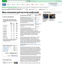 More consumers just say no to credit cards