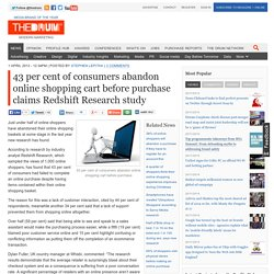 43 per cent of consumers abandon online shopping cart before purchase claims Redshift Research study